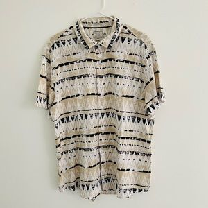 Guess Cream Geometric Button Down Large